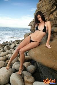 Hot Brunette In Black Bikini 02