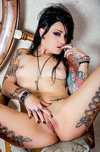 Gothic Angel Showing Her Inked Body