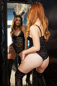 Tawny Swain Strips Off Her Sexy Black Lace Bodysuit